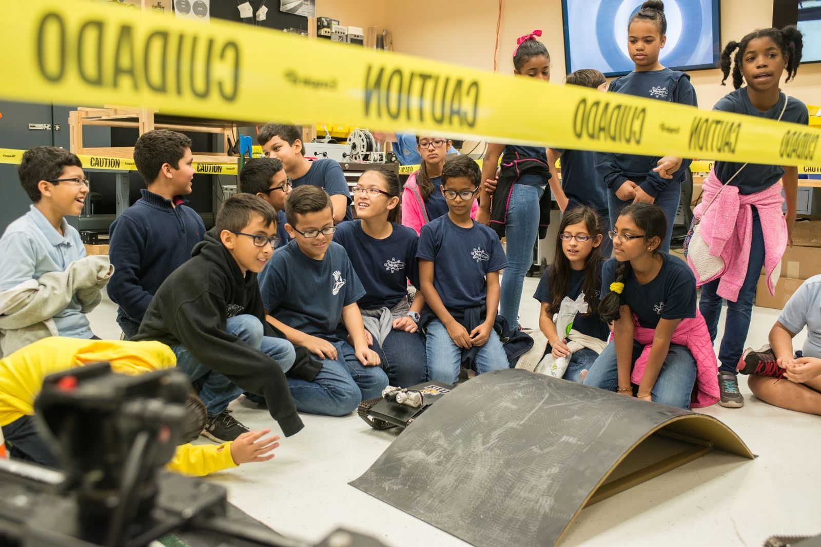 K-12 Students at a demonstration at the Engineering Expo